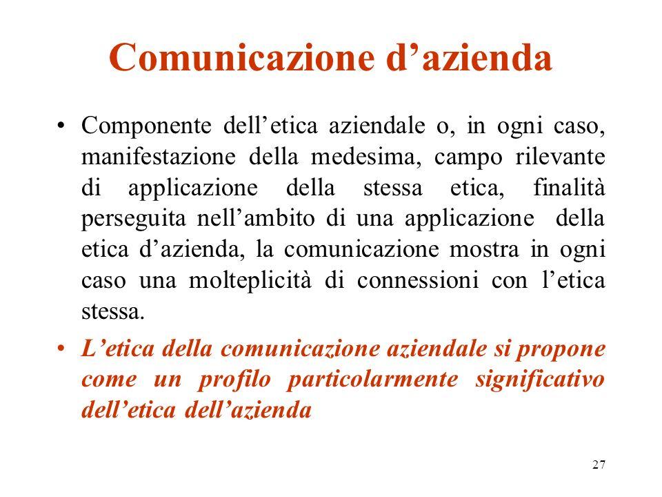 27 Comunicazione dazienda Componente delletica aziendale o, in ogni caso, manifestazione della medesima, campo rilevante di applicazione della stessa