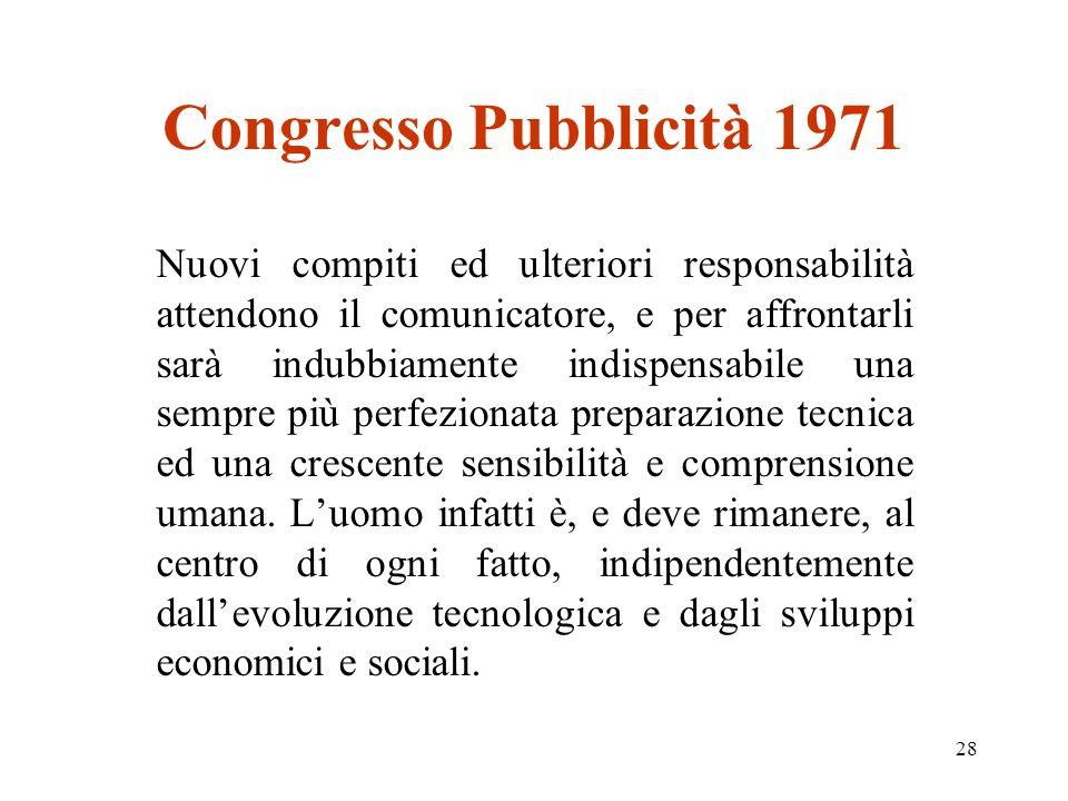 28 Congresso Pubblicità 1971 Nuovi compiti ed ulteriori responsabilità attendono il comunicatore, e per affrontarli sarà indubbiamente indispensabile