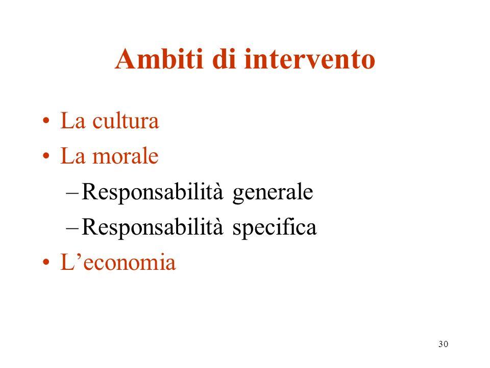30 Ambiti di intervento La cultura La morale –Responsabilità generale –Responsabilità specifica Leconomia