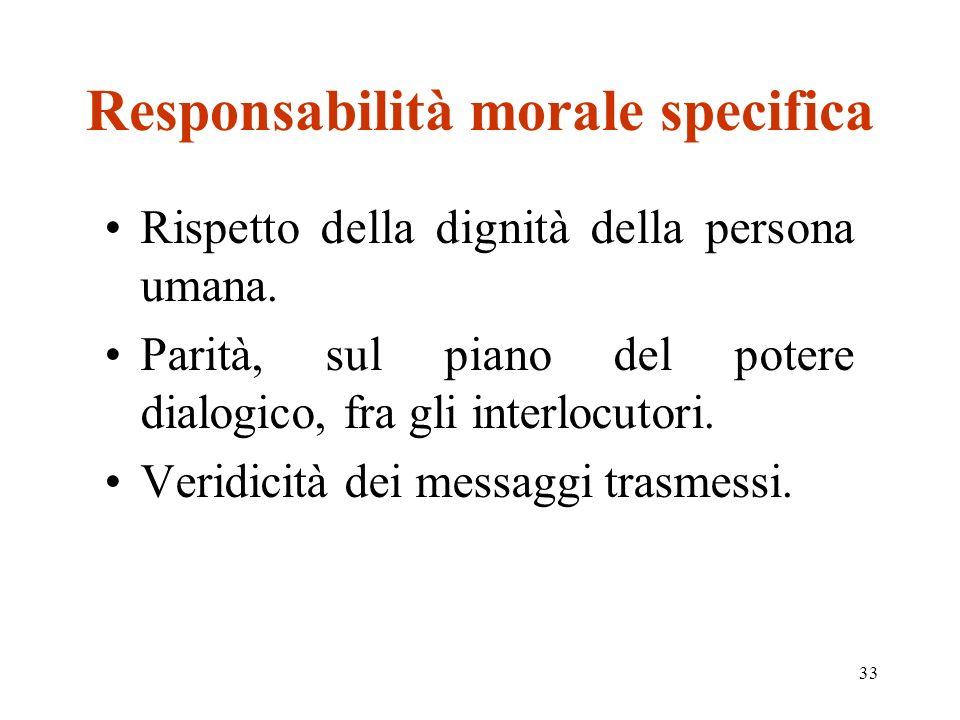33 Responsabilità morale specifica Rispetto della dignità della persona umana. Parità, sul piano del potere dialogico, fra gli interlocutori. Veridici