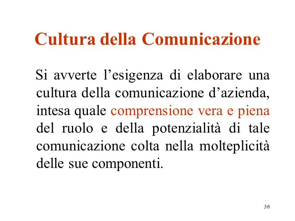 36 Cultura della Comunicazione Si avverte lesigenza di elaborare una cultura della comunicazione dazienda, intesa quale comprensione vera e piena del ruolo e della potenzialità di tale comunicazione colta nella molteplicità delle sue componenti.