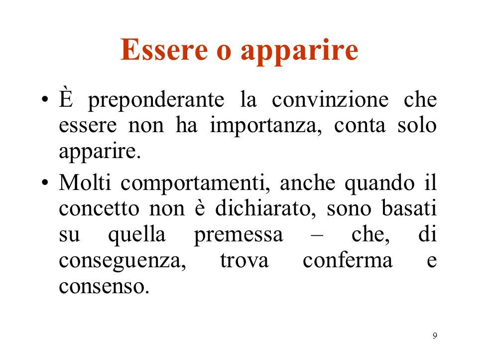 9 Essere o apparire È preponderante la convinzione che essere non ha importanza, conta solo apparire.