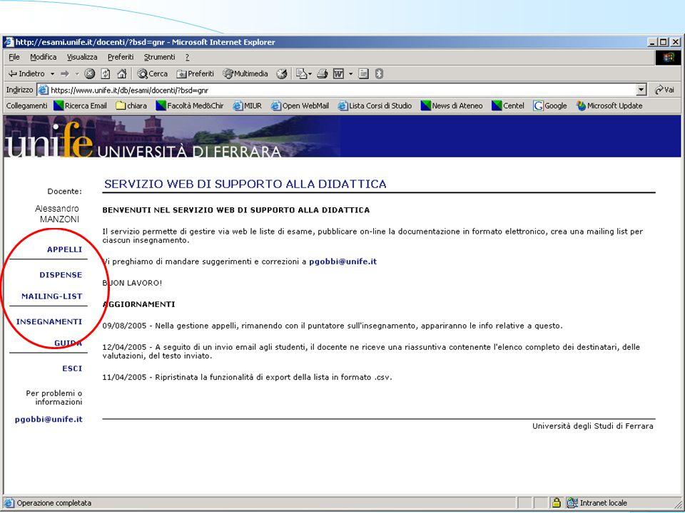 Università degli Studi di Ferrara - Università degli Studi di Ferrara - Facoltà di Medicina e Chirurgia Chiara Da Ronch Alessandro MANZONI
