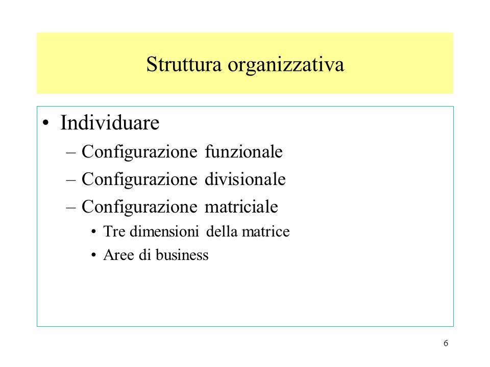 6 Individuare –Configurazione funzionale –Configurazione divisionale –Configurazione matriciale Tre dimensioni della matrice Aree di business Struttur