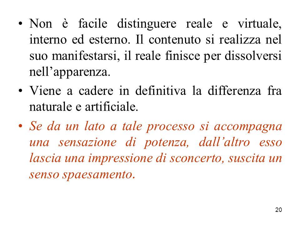 20 Non è facile distinguere reale e virtuale, interno ed esterno.