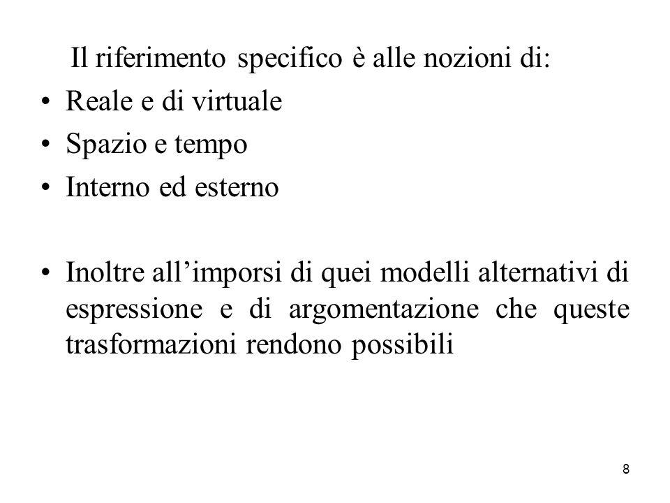 8 Il riferimento specifico è alle nozioni di: Reale e di virtuale Spazio e tempo Interno ed esterno Inoltre allimporsi di quei modelli alternativi di