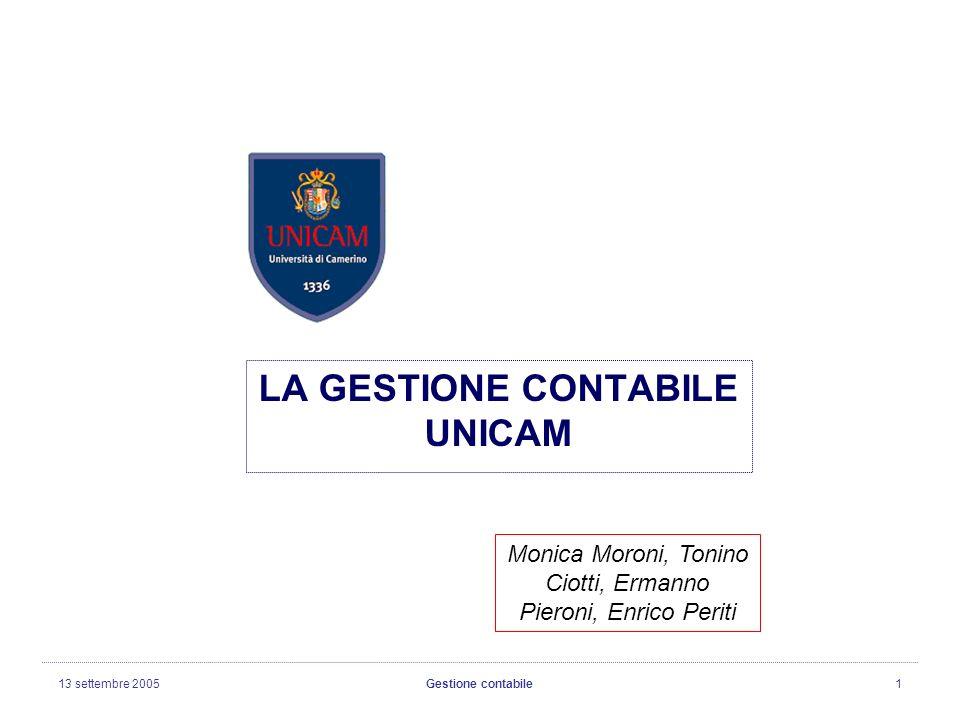 13 settembre 2005Gestione contabile1 LA GESTIONE CONTABILE UNICAM Monica Moroni, Tonino Ciotti, Ermanno Pieroni, Enrico Periti