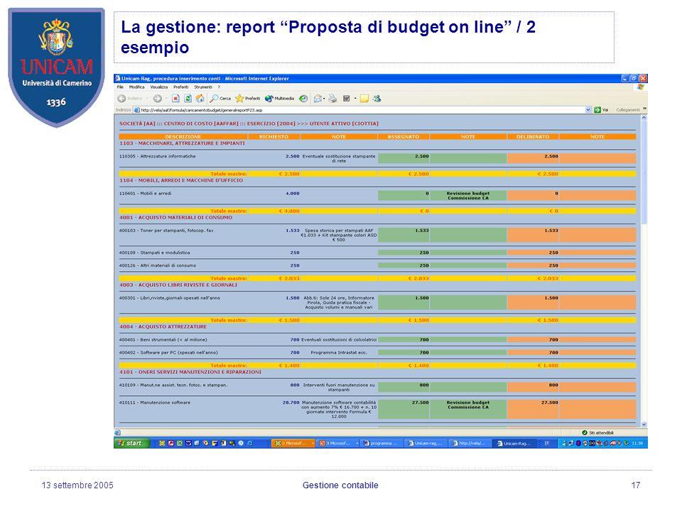 13 settembre 2005Gestione contabile17 La gestione: report Proposta di budget on line / 2 esempio
