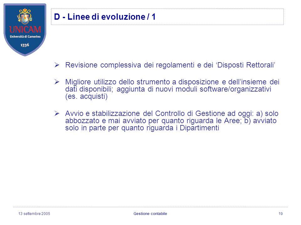 13 settembre 2005Gestione contabile19 Revisione complessiva dei regolamenti e dei Disposti Rettorali Migliore utilizzo dello strumento a disposizione e dellinsieme dei dati disponibili; aggiunta di nuovi moduli software/organizzativi (es.