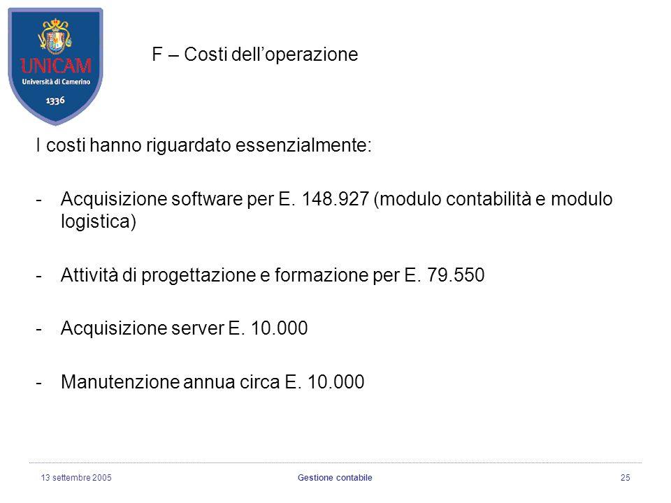 13 settembre 2005Gestione contabile25 F – Costi delloperazione I costi hanno riguardato essenzialmente: -Acquisizione software per E.