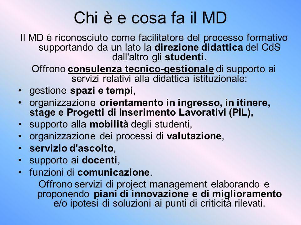 Chi è e cosa fa il MD Il MD è riconosciuto come facilitatore del processo formativo supportando da un lato la direzione didattica del CdS dall'altro g