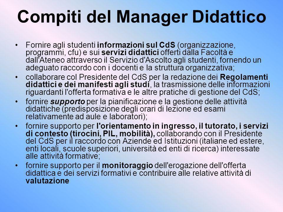Compiti del Manager Didattico Fornire agli studenti informazioni sul CdS (organizzazione, programmi, cfu) e sui servizi didattici offerti dalla Facolt