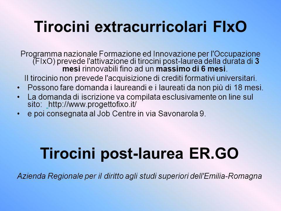 Tirocini extracurricolari FIxO Programma nazionale Formazione ed Innovazione per l'Occupazione (FIxO) prevede l'attivazione di tirocini post-laurea de