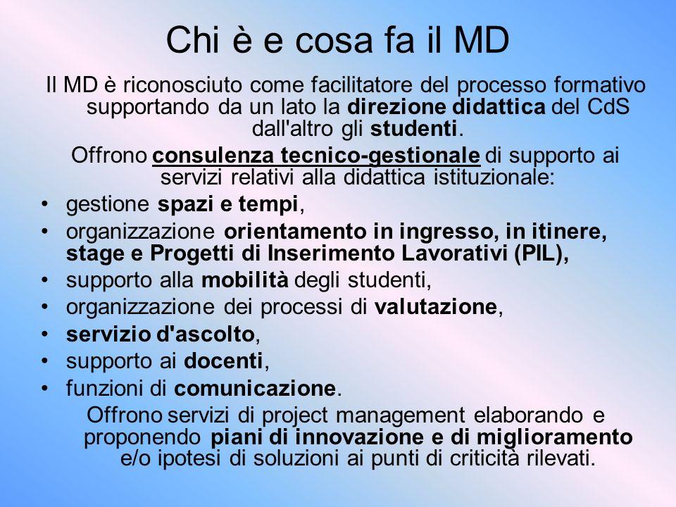 Chi è e cosa fa il MD Il MD è riconosciuto come facilitatore del processo formativo supportando da un lato la direzione didattica del CdS dall altro gli studenti.
