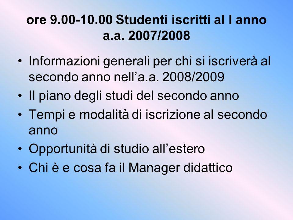 ore 9.00-10.00 Studenti iscritti al I anno a.a. 2007/2008 Informazioni generali per chi si iscriverà al secondo anno nella.a. 2008/2009 Il piano degli