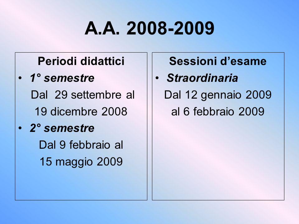 A.A. 2008-2009 Periodi didattici 1° semestre Dal 29 settembre al 19 dicembre 2008 2° semestre Dal 9 febbraio al 15 maggio 2009 Sessioni desame Straord