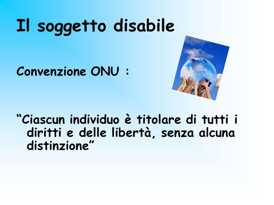 Il soggetto disabile Convenzione ONU : Ciascun individuo è titolare di tutti i diritti e delle libertà, senza alcuna distinzione