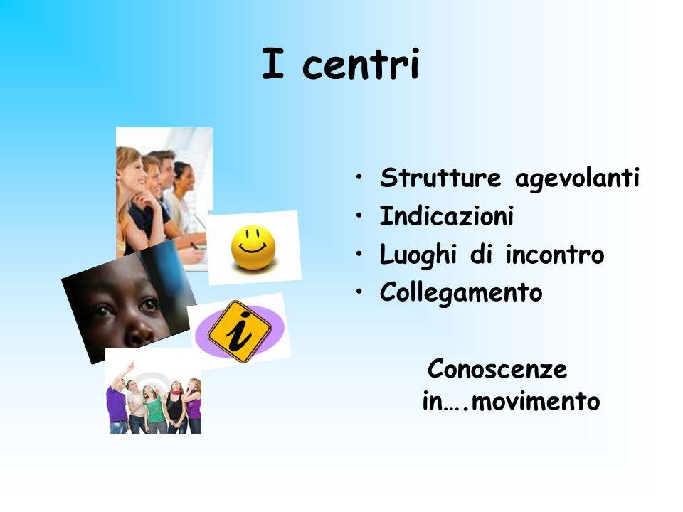 I centri Strutture agevolanti Indicazioni Luoghi di incontro Collegamento Conoscenze in….movimento