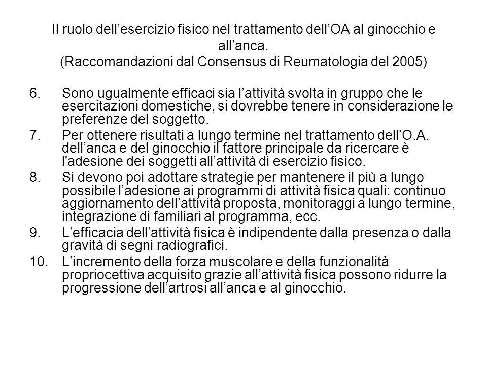 Il ruolo dellesercizio fisico nel trattamento dellOA al ginocchio e allanca. (Raccomandazioni dal Consensus di Reumatologia del 2005) 6.Sono ugualment
