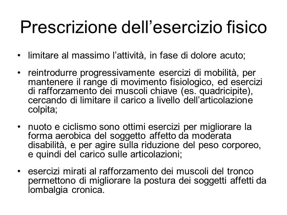 Prescrizione dellesercizio fisico limitare al massimo lattività, in fase di dolore acuto; reintrodurre progressivamente esercizi di mobilità, per mant