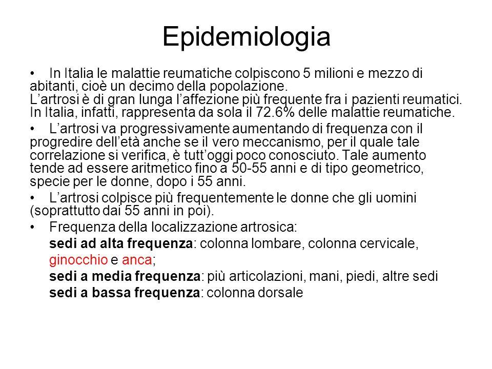 Epidemiologia In Italia le malattie reumatiche colpiscono 5 milioni e mezzo di abitanti, cioè un decimo della popolazione. Lartrosi è di gran lunga la