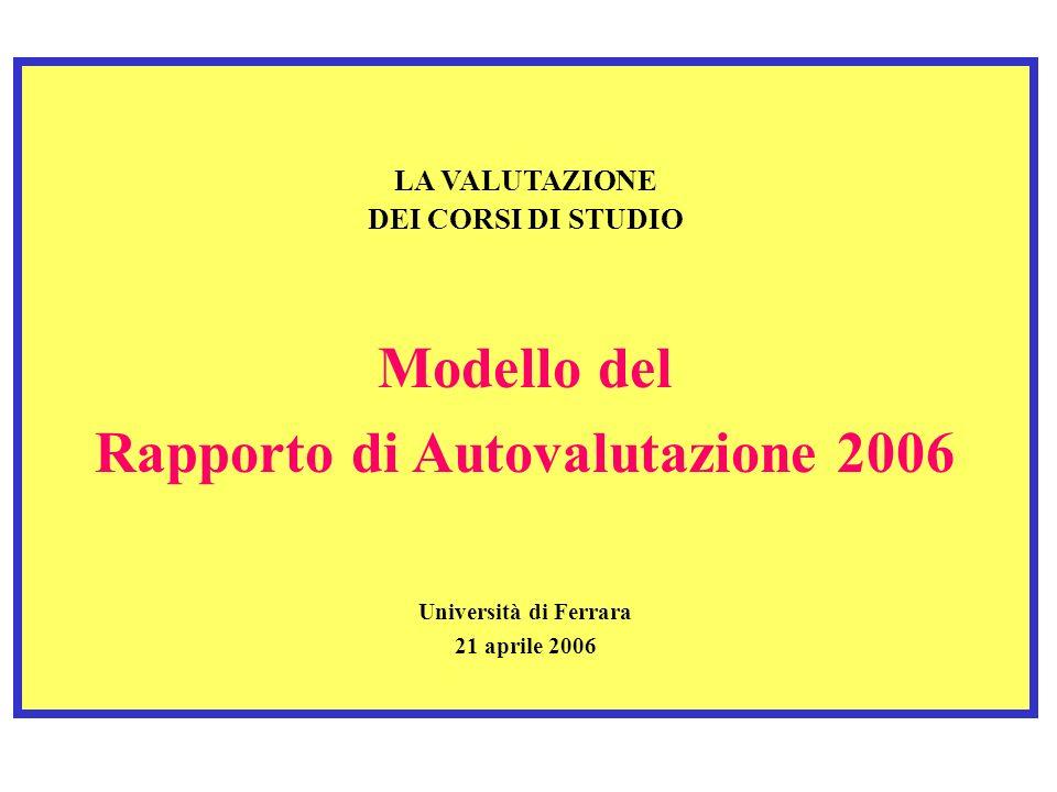 LA VALUTAZIONE DEI CORSI DI STUDIO Modello del Rapporto di Autovalutazione 2006 Università di Ferrara 21 aprile 2006