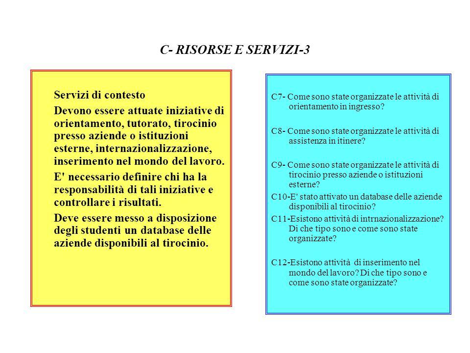 C- RISORSE E SERVIZI-3 Servizi di contesto Devono essere attuate iniziative di orientamento, tutorato, tirocinio presso aziende o istituzioni esterne,