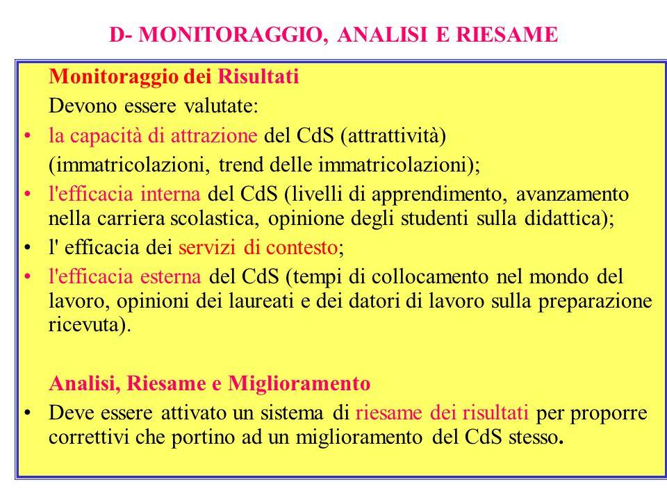 D- MONITORAGGIO, ANALISI E RIESAME Monitoraggio dei Risultati Devono essere valutate: la capacità di attrazione del CdS (attrattività) (immatricolazio