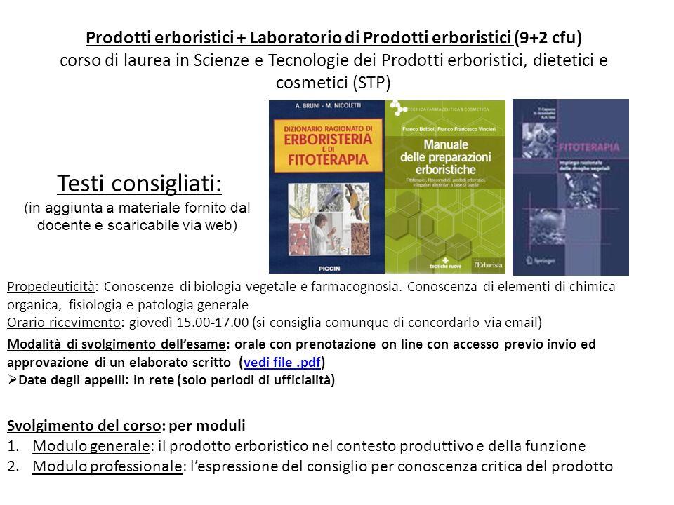 Testi consigliati: Propedeuticità: Conoscenze di biologia vegetale e farmacognosia. Conoscenza di elementi di chimica organica, fisiologia e patologia