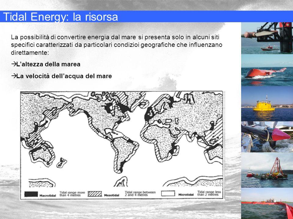 Tidal Energy: la risorsa La possibilità di convertire energia dal mare si presenta solo in alcuni siti specifici caratterizzati da particolari condizi