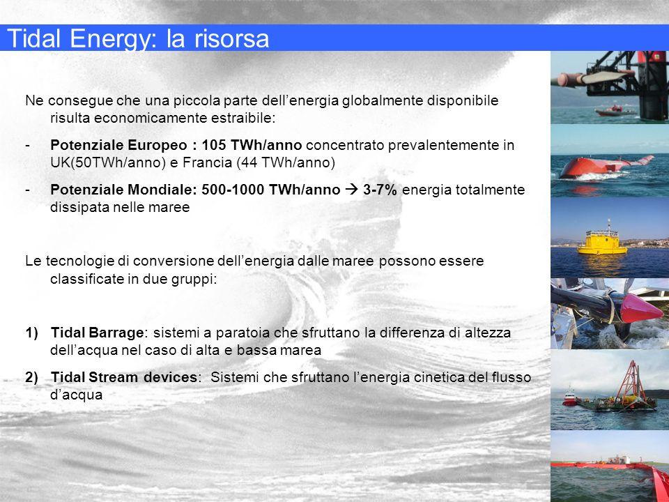 Tidal Energy: la risorsa Ne consegue che una piccola parte dellenergia globalmente disponibile risulta economicamente estraibile: -Potenziale Europeo