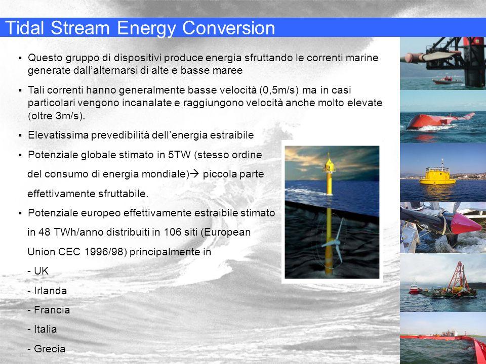 Tidal Stream Energy Conversion Questo gruppo di dispositivi produce energia sfruttando le correnti marine generate dallalternarsi di alte e basse mare