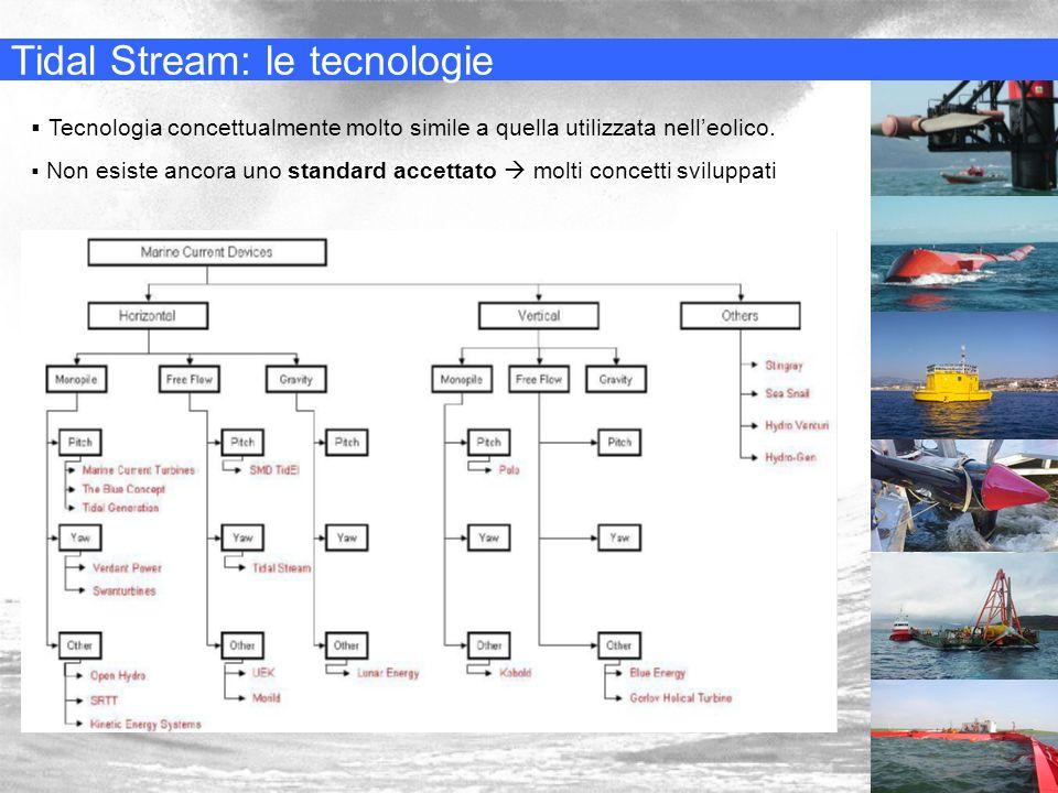 Tidal Stream: le tecnologie Tecnologia concettualmente molto simile a quella utilizzata nelleolico. Non esiste ancora uno standard accettato molti con