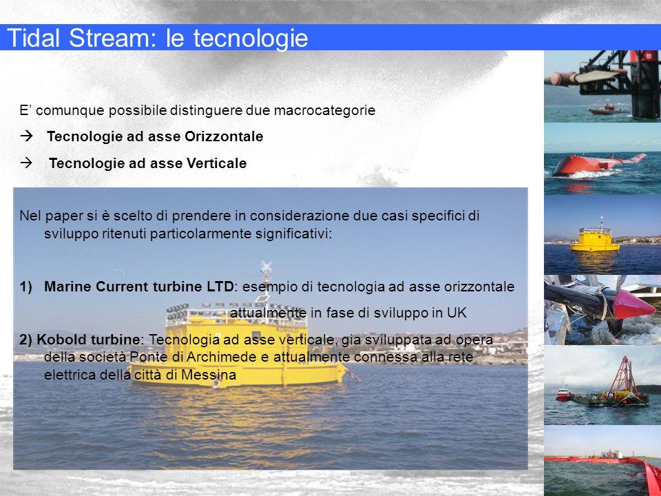 Tidal Stream: le tecnologie E comunque possibile distinguere due macrocategorie Tecnologie ad asse Orizzontale Tecnologie ad asse Verticale Nel paper