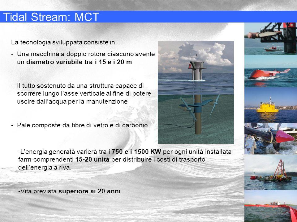 Tidal Stream: MCT La tecnologia sviluppata consiste in -Una macchina a doppio rotore ciascuno avente un diametro variabile tra i 15 e i 20 m -Il tutto