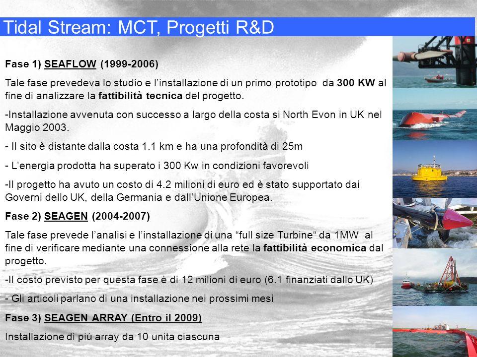 Tidal Stream: MCT, Progetti R&D Fase 1) SEAFLOW (1999-2006) Tale fase prevedeva lo studio e linstallazione di un primo prototipo da 300 KW al fine di