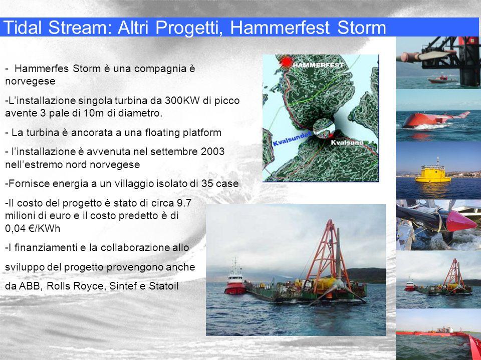 Tidal Stream: Altri Progetti, Hammerfest Storm - Hammerfes Storm è una compagnia è norvegese -Linstallazione singola turbina da 300KW di picco avente