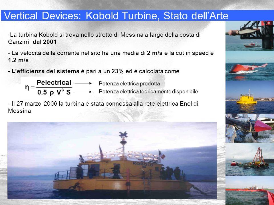 Vertical Devices: Kobold Turbine, Stato dellArte -La turbina Kobold si trova nello stretto di Messina a largo della costa di Ganzirri dal 2001 - La ve