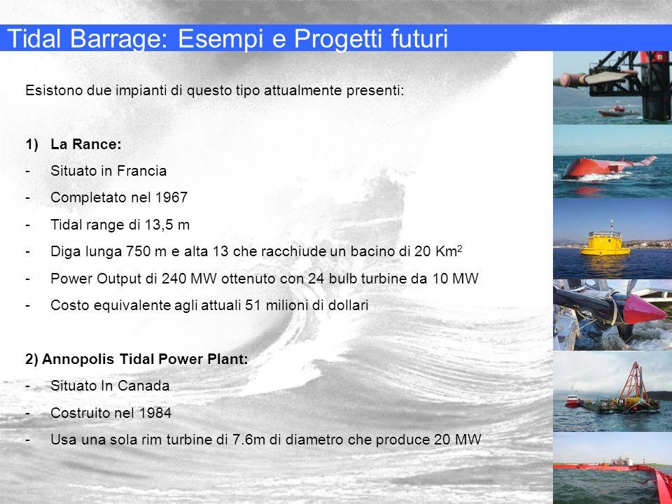 Tidal Barrage: Esempi e Progetti futuri Esistono due impianti di questo tipo attualmente presenti: 1)La Rance: -Situato in Francia -Completato nel 196