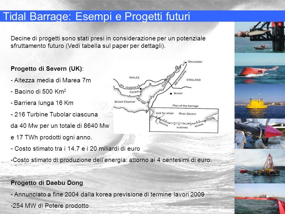 Tidal Barrage: Esempi e Progetti futuri Decine di progetti sono stati presi in considerazione per un potenziale sfruttamento futuro (Vedi tabella sul