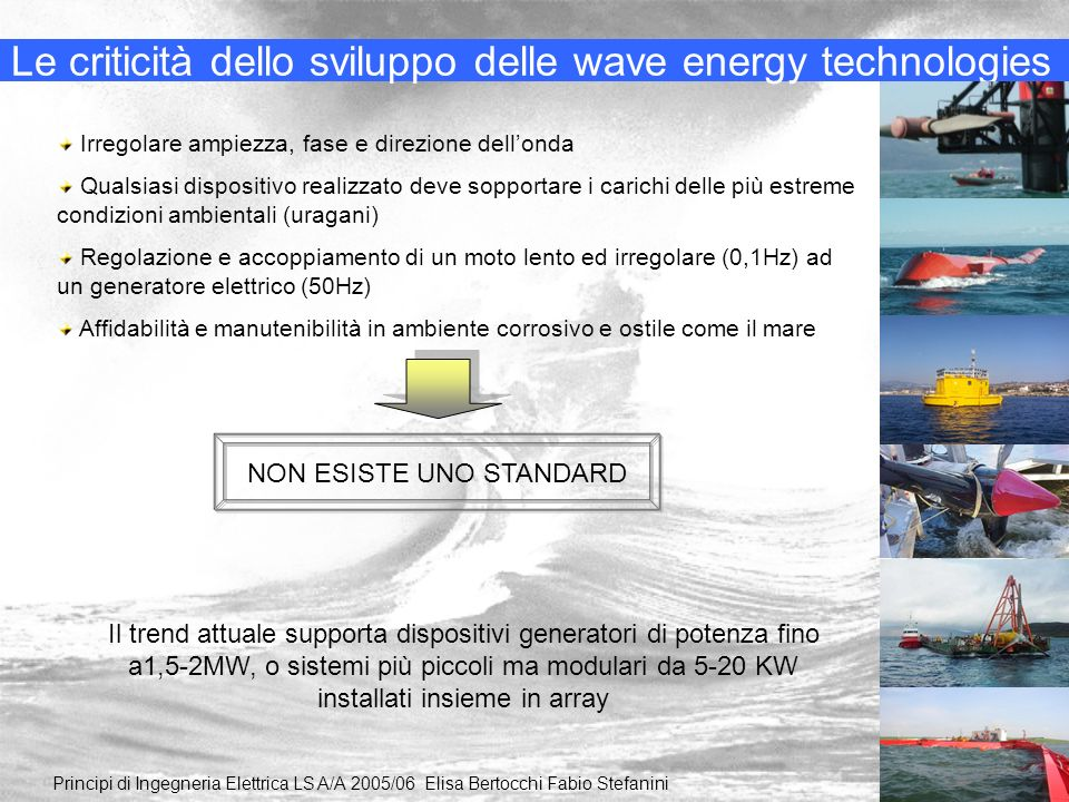 Le criticità dello sviluppo delle wave energy technologies Principi di Ingegneria Elettrica LS A/A 2005/06 Elisa Bertocchi Fabio Stefanini Irregolare