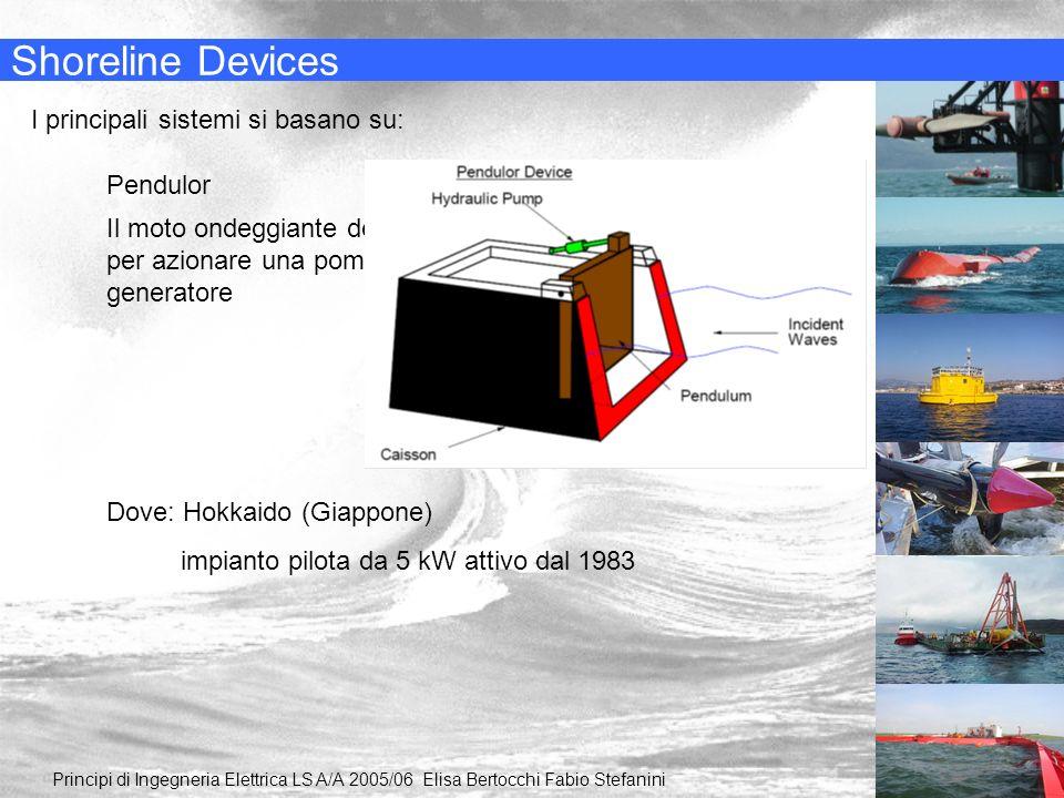 Shoreline Devices I principali sistemi si basano su: Pendulor Il moto ondeggiante del pendolo è usato per azionare una pompa idraulica ed un generator
