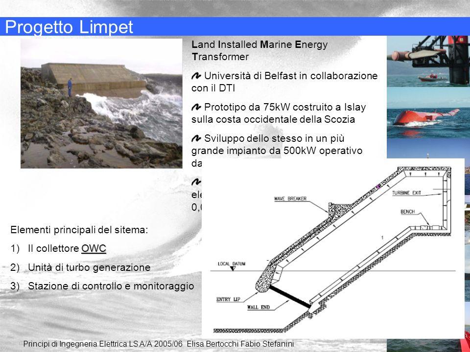 Progetto Limpet Principi di Ingegneria Elettrica LS A/A 2005/06 Elisa Bertocchi Fabio Stefanini Land Installed Marine Energy Transformer Università di