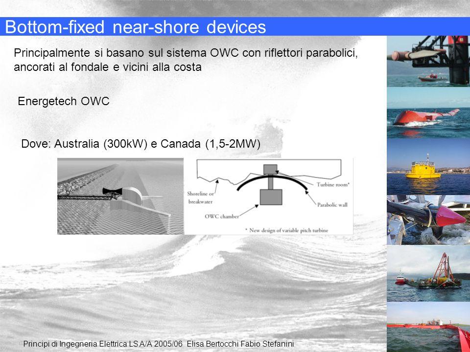 Bottom-fixed near-shore devices Principalmente si basano sul sistema OWC con riflettori parabolici, ancorati al fondale e vicini alla costa Energetech