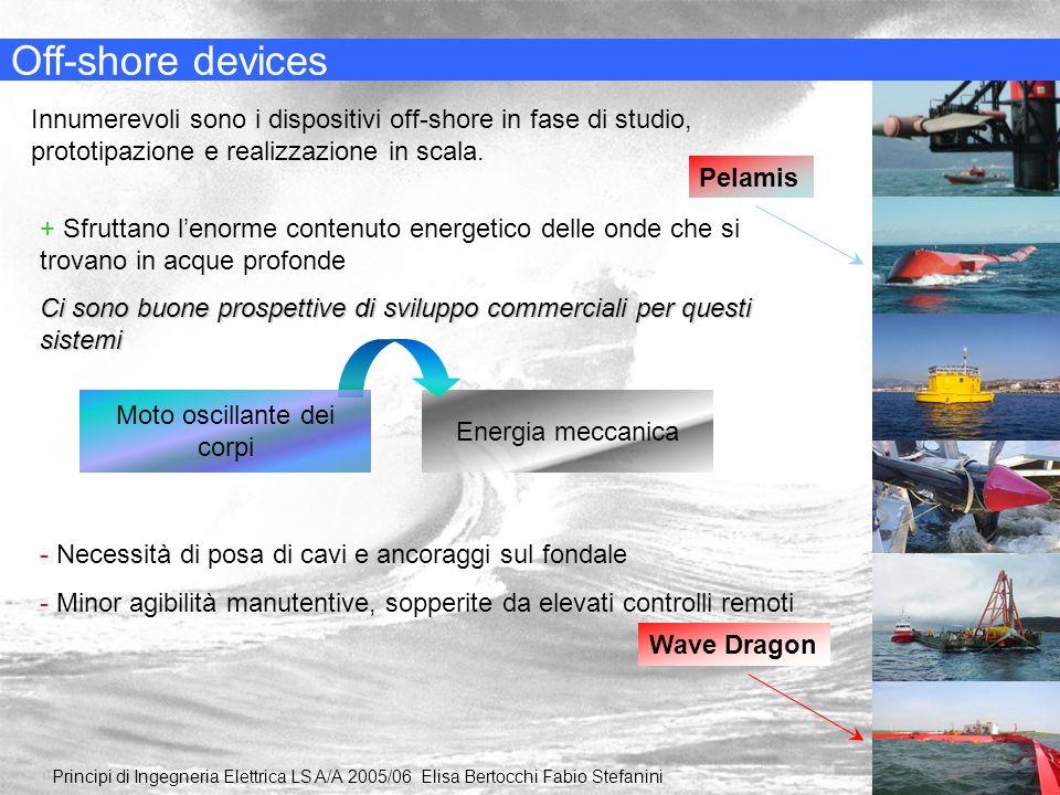 Energia meccanica Off-shore devices Innumerevoli sono i dispositivi off-shore in fase di studio, prototipazione e realizzazione in scala. Pelamis Wave