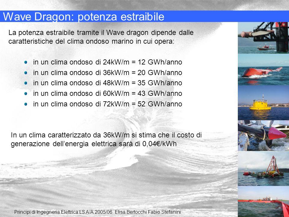 Wave Dragon: potenza estraibile La potenza estraibile tramite il Wave dragon dipende dalle caratteristiche del clima ondoso marino in cui opera: Princ