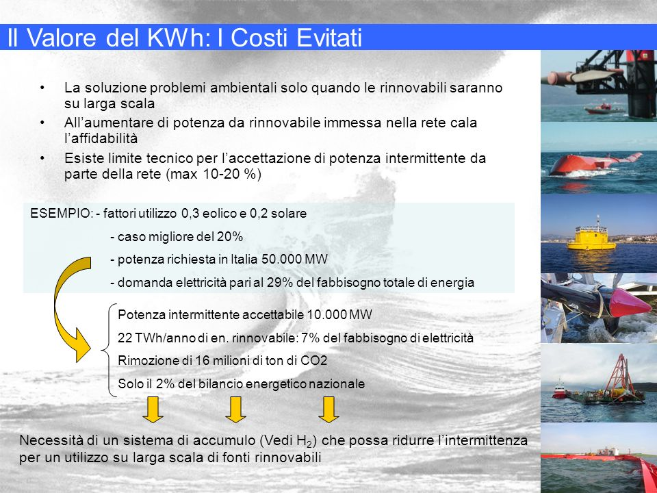 …Perchè energia dal mare 1) È pulita 2) È rinnovabile 3) È largamente disponibile 4) È poco o per nulla sfruttata 5) E altamente prevedibile 6) Ha alta densità specifica