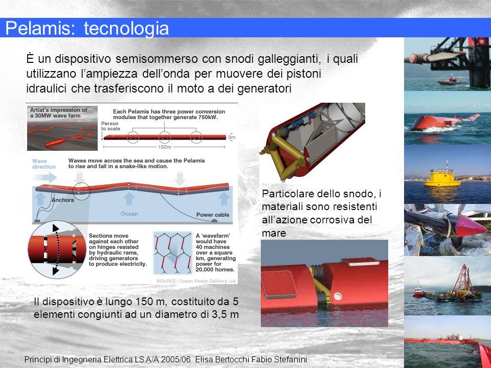 Pelamis: tecnologia Principi di Ingegneria Elettrica LS A/A 2005/06 Elisa Bertocchi Fabio Stefanini È un dispositivo semisommerso con snodi galleggian