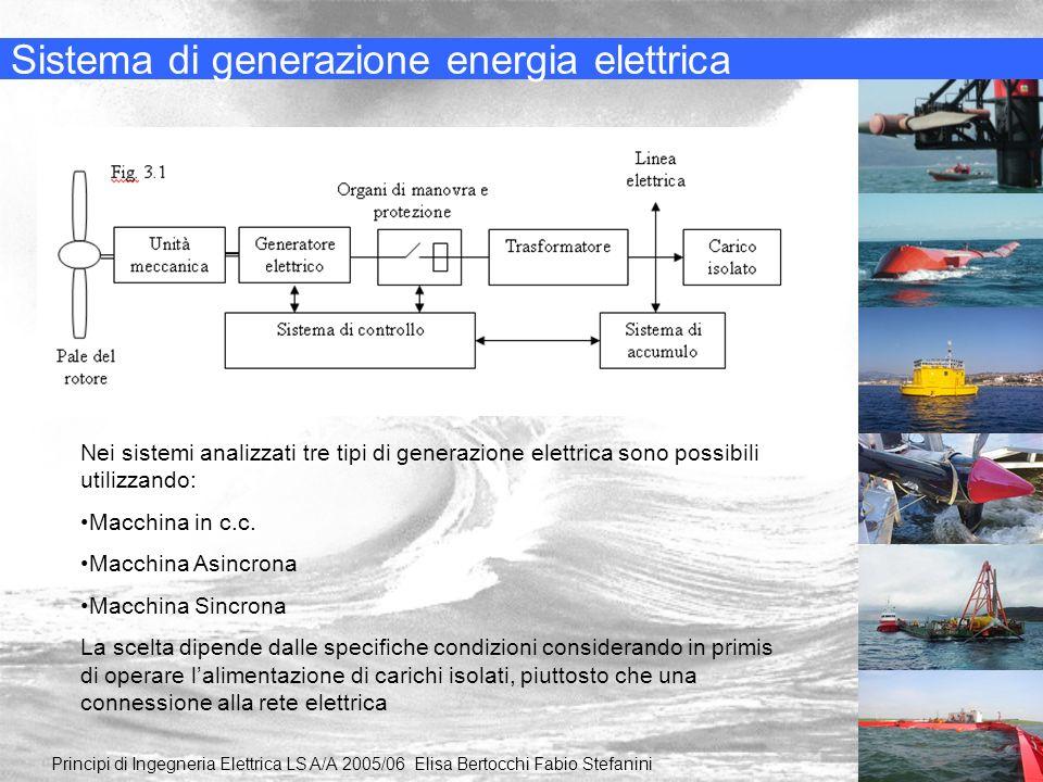 Sistema di generazione energia elettrica Principi di Ingegneria Elettrica LS A/A 2005/06 Elisa Bertocchi Fabio Stefanini Nei sistemi analizzati tre ti