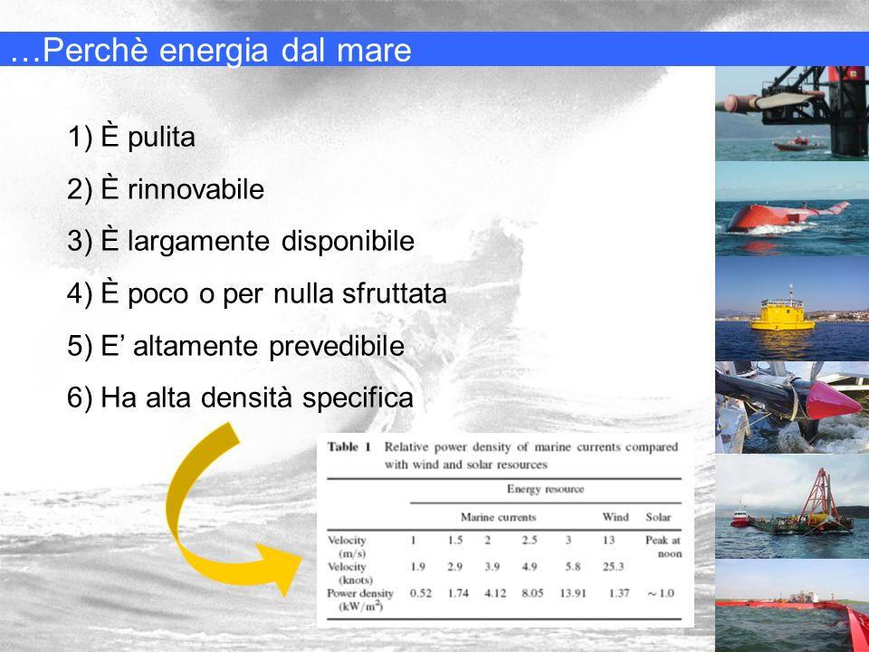 …Perchè energia dal mare 1) È pulita 2) È rinnovabile 3) È largamente disponibile 4) È poco o per nulla sfruttata 5) E altamente prevedibile 6) Ha alt